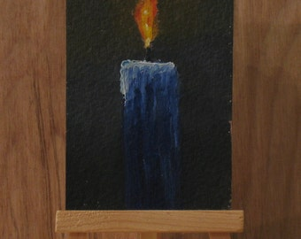 Aceo, blue candle and flame, acrylic painting, still life