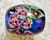 Marsh Helleborine Carpenter Bee Satake Glass Lampwork Round Flower Bead sra