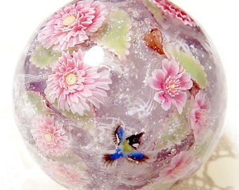 Weeping Cherry Blossom of Double & Single with Japanese Tit Bird Satake Glass Lampwork Flower Marble sra