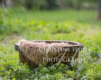 Newborn Digital Photography Backdrop Outdoor field wooden bucket basket