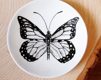 Ring Dish, Jewelry Dish, Polymer Clay Dish, Monarch Butterfly Dish, Gift for Gardeners, Entomology, Wedding Gift, Trinket Dish
