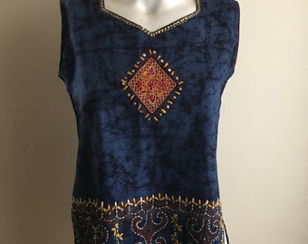 Blue Embroidered Cotton Bohemian Indian Tunic Tank Top •
