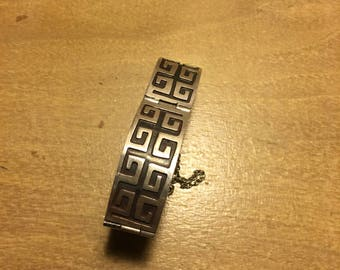 50s 60s Rare Mexican Aztec Pattern Sterling Silver Bracelet