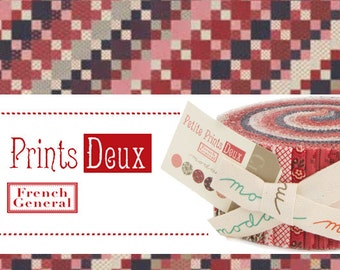 Petite Prints Deux Jelly Roll quilt fabric French General Kaari Meng Moda precuts reproduction turkey red  2.5 in strips
