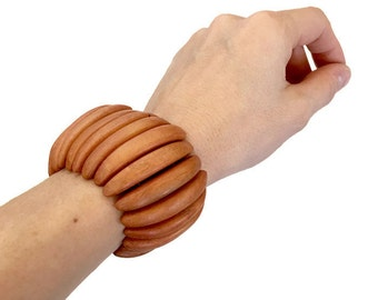Vintage Wood Bracelet, Chunky Boho Bracelet, Natural Wood