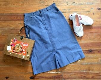 Vintage 70s Denim Skirt / Nautical Blue / Ship N Shore / 29 Waist