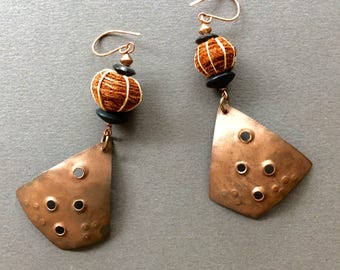 Rustic Copper Earrings Large Abstract Copper Triangles with African Barkcloth Beads on Hand Crafted Copper Hooks Ethnic Tribal Boho Jewelry