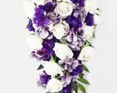 Reserved for Erian - Cascade Bridal Bouquet, Purple Hydrangea Bridesmaids Bouquets, Corsages, Boutonnieres