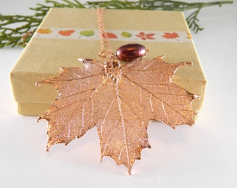 Rose Gold Maple Leaf Necklace, 30 inch