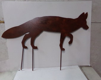 Fox XLarge with Stakes Metal Yard Art Wildlife Silhouette