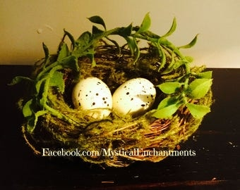 Mossy Spring Birds nest with spotted cream eggs- 3 1/2-4""