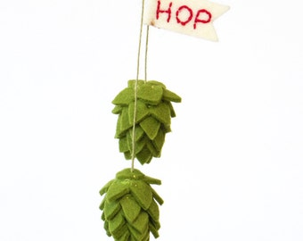 Valentine felt Beer hop ornament with HOP flag, rear view mirror charm, beer lover gift, craft beer decor