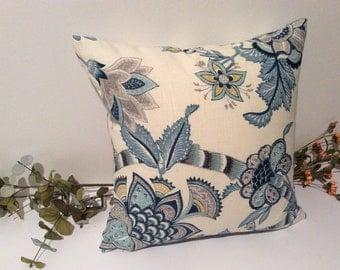 P Kaufman, designer, decorative pillow cover, 18 x 18, blue and white, accent pillow cover, toss pillow, throw pillow