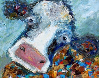 Colorful Cow painting in oil palette knife impressionism on canvas 16x20 fine art by Karen Tarlton