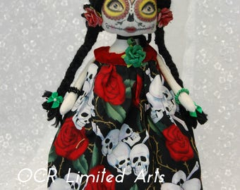 OnSaLe Rocio Catrina Sugar Skull Dia de los Muertos OOak Collectible Art Doll Day of the Dead  Home decor Hand painted