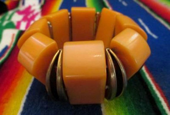 Gorgeous Art Deco Bakelite Bracelet in a deep butterscotch with decorative metal separators VLV rockabilly pinup girl  Bakelite jewelry