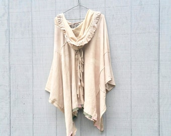Shabby Chic Dress, Bohemian Clothing, Poncho, Romantic, Wrap, Made To Order, Boho, Creme Brulee, Hoodie, Jacket, Custom Order