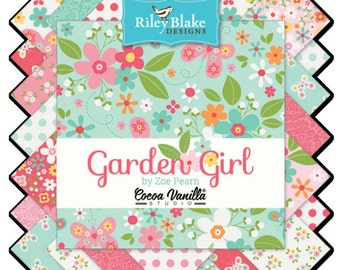 "Garden Girl Charm Pack - 5"" Inch Precut Fabric Squares - Riley Blake 5"" Stacker - Cheerful Graphic Floral Fabric - Butterflies Flowers"