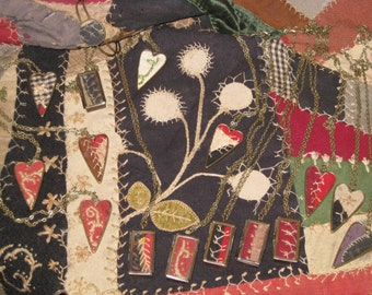 Red Heart Quilt Necklace Hand Made Gift OOAK Antique Quilt Jewelry Pieces Of Olde Old Quilt Feather Stitched