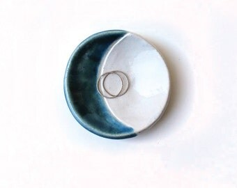 Blue Moon Tiny Dish - Ceramic, Pottery, Handmade - Ring Dish, Jewelry Dish, Stud Holder, Tea Bag Rest - Gifts for Moon Lovers