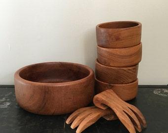 Vintage Wooden Salad Bowl Complete Set with Serving Bowl, 4 salad bowls and two forks Made in Thailand