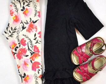 Leggings | Watercolor Flora | Sizes 3 Months to 7/8 | Floral, toddler leggings, big girl leggings, mint, spring