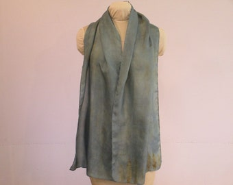 """Eco Fashion Indigo Scarf - Gift for Her - Silk Scarf - Blue Gold Ecoprint  - HA14121602 -  approx. 14""""x70"""" (35 x 178cm)"""