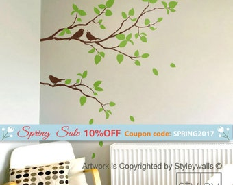 Branches Wall Decal, Two Spring Branches and Birds Wall Decal, Leaves and Birds Wall Decal, Branch Decal for Home Decor, Branch Sticker