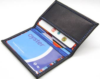 Blue nappa leather ID holder with geometric lining