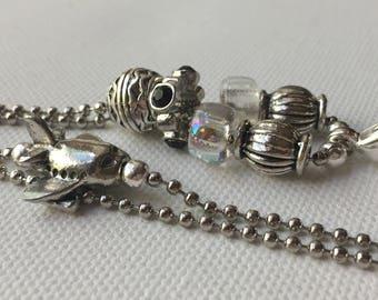 Black Airplane Lanyard Ball Chain ID Badge with Silver Pandora style beads