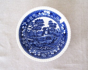 """Spode Copeland Tower Orphan Oversized Saucer 6 3/4"""" English Blue Transferware England Old Stamp"""