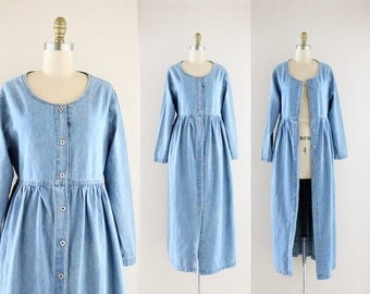 ON SALE button down denim dress / duster