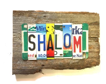 SHALOM peace yiddish upcycled recycled license plate art sign tomboyART OOAK weathered wood