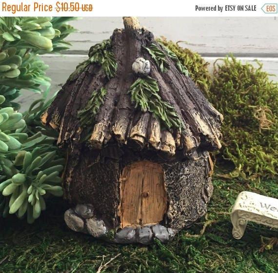 SALE Fairy Garden House, Rustic Stone Wood Look, Fairy Garden Accessory, Home and Garden Decor, Miniature Garden Accent