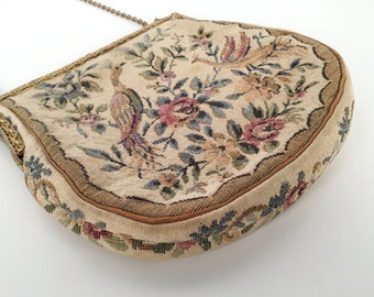 Vintage 40s Pheasant Floral Evening Bag, Petit Point, Tapestry, Needlepoint, Cotton, Metal Filigree, Beige, Pink, Plum, Thick Satin Lining