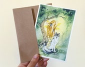 Fairy Art Note Card - The Wolf's Fairy - watercolor art. greeting card. fantasy. woodland. animal. tree. yellow. green.