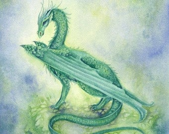 Dragon Art Original Watercolor Painting - Viridian - fantasy. whimsical. green. silver. wings. earth. water.