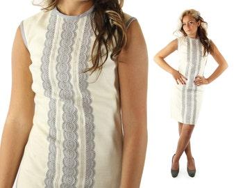 Vintage 60s Sheath Dress Ivory Gray Lace Sleeveless Bobbie Brooks 1960s Small S Linen Cotton Mini Dress