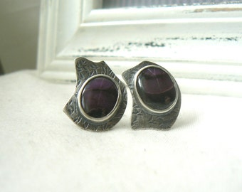 Oxidized Sterling silver and Sugilite Asymmetric Cufflinks - READY TO SHIP