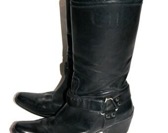 Baaaadddd Black Leather Prada Cowboy/Motorcycle Boots- Size 8/ 8.5