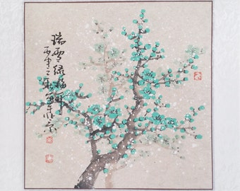 Cherry Blossom painting flowerpainting Original  chinese painting oriental art watercolour-Lovely cherry blossom tree No.91