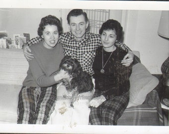 Center of Attention Vintage Photo Man Two Women and Furry Dog