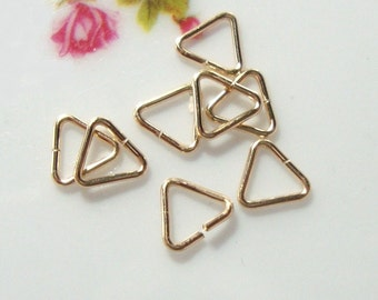 10, 20, 50 pcs, 0.64x5mm, 22 gauge, 14K gold filled open Triangle jump rings