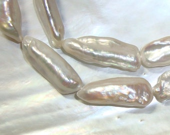 "20-25x8-9mm, 16"" Strand, Biwa Fresh Water Pearl, Biwa Freshwater Pearl, Top Quality Stick Pearl, B1"