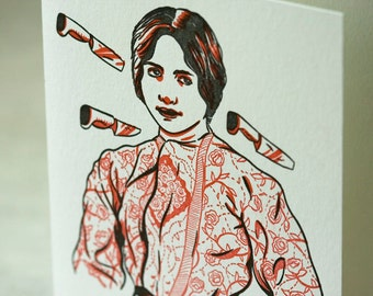 SALE - Letterpress Circus Knife Thrower card - 60% off