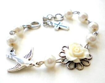 Newborn Bracelet Gift For Toddler New Baby Gift Flower Bracelet Sparrow Bracelet Flower Girl Jewelry Baptism Gift Girl Kid Pearl Bracelet