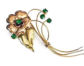 Harry Iskin Gold Filled Brooch - Emerald Green, Rhinestone Brooch, Flower Brooch, Vintage Brooch, Vintage Jewelry