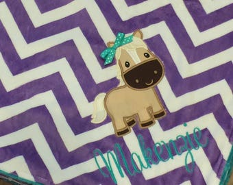 Horse Baby Blanket-Personalized Baby Blanket- Chevron Minky Blanket- Applique Baby Blanket- Horse Nursery Bedding