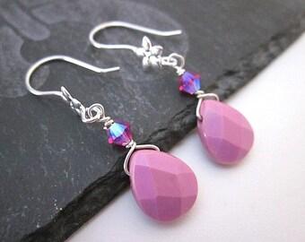 Pink Turquoise Earrings -- Pink Briolette Earrings -- Pink Gemstone Dangles -- Simple Pink Earrings -- Pink Teardrop Earrings -- Pink Drops