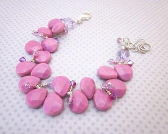 Pink & Silver Charm Bracelet -- Pink Gem Bracelet -- Pink Turquoise Bracelet -- Pretty Pink Bracelet -- Candy Pink Bracelet -Mantra Bracelet